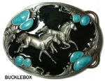Mighty Horses Belt Buckle + display stand. Code NH6
